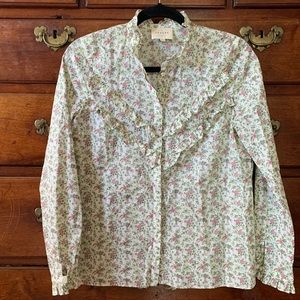 Sézane Floral Blouse with Ruffle Detailing
